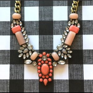 Statement Necklace/ Fashion Jewelry/ coral color